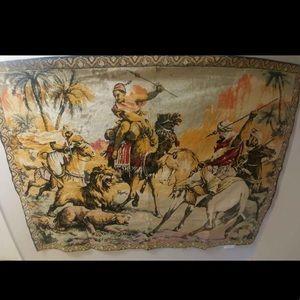 Vintage Arabian Lion Hunters Velvet Large Tapestry